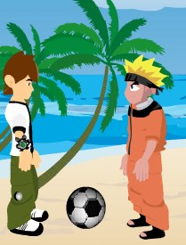 Ben 10 and Naruto Beach Ball Game